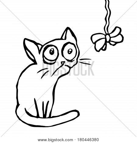 Cartoon strange cartoon cat sitting and looking at the bow-knot. Funny fur character. Contour freehand digital drawing. Kids illustration. Isolated vector illustration.