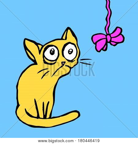 Cartoon strange cartoon yellow cat sitting and looking at the bow-knot. Funny fur character. Contour freehand digital drawing. Kids illustration. Blue color background. Isolated vector illustration.
