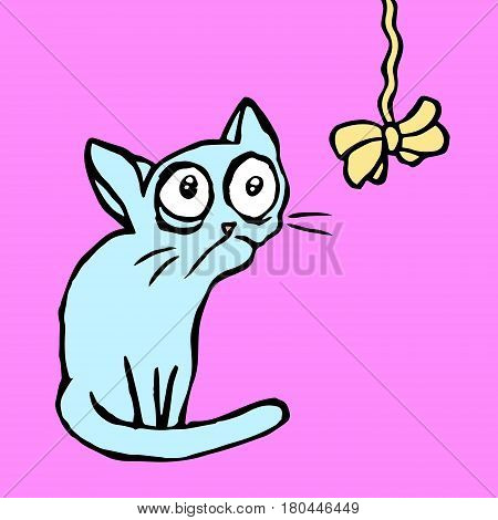 Strange cartoon blue cat sitting and looking. Vector illustration. Funny Cool Character.