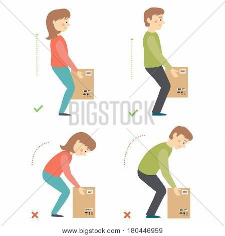 Correct and Incorrect Activities Posture in Daily Routine - Lifting Weight. Cartoon vector hand drawn eps 10 illustration isolated on white background in flat style.