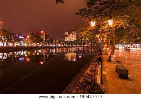HAI PHONG VIETNAM - March 09 2017: Tam Bac Lake at night Hai Phong.
