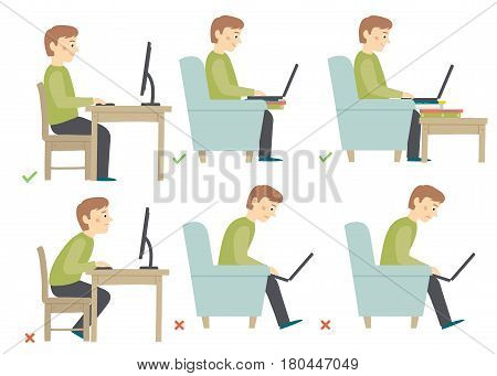 Correct and Incorrect Activities Posture in Daily Routine - Sitting and Working with a Computer. Man haracter. Cartoon vector hand drawn eps 10 illustration isolated on white background in flat style.