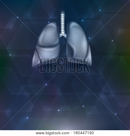 Lungs on an abstract dark shapes background