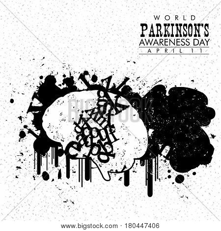 An abstract illustration of Parkinson's disease on a grungy background
