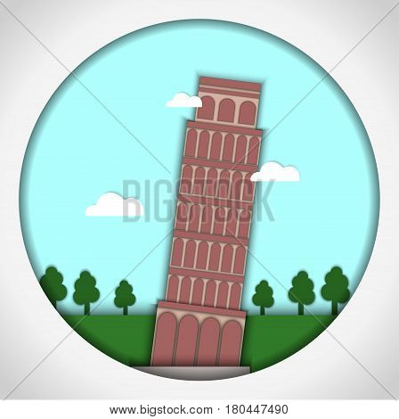 Paper applique style Card with application of Leaning Tower of Pisa, Italy. Postcard.