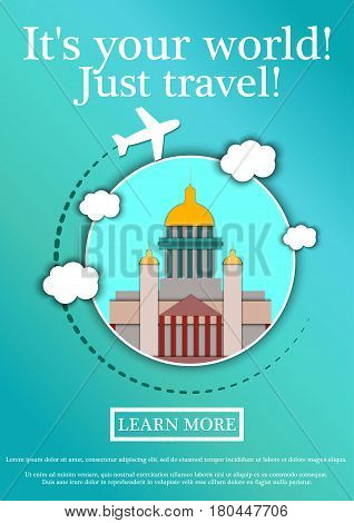 Banner with text Its your world.Just travel. Concept website template.Modern flat design. Vector Illustration.St. Isaac's Cathedral.Saint Petersburg