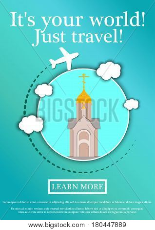 Banner with text Its your world.Just travel. Concept website template.Modern flat design. Vector Illustration.Chapel in the name of St. Nicholas the Wonderworker, Novosibirsk