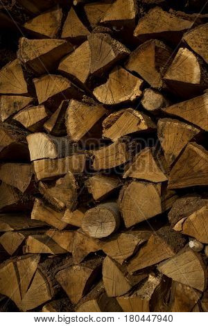 Texture Of Firewood For Wooden Abstract Background. Outdoor Rack With Firewood Logs.