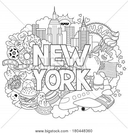Vector doodle illustration showing Architecture and Culture of New York. Abstract background with hand drawn text New York.