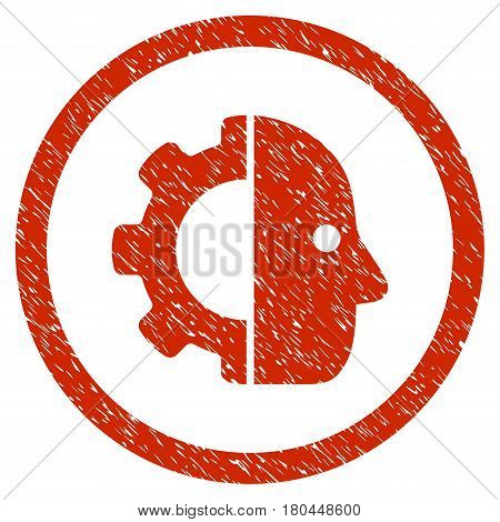 Cyborg grainy textured icon inside circle for overlay watermark stamps. Flat symbol with dust texture. Circled dotted vector red ink rubber seal stamp with grunge design on a white background.