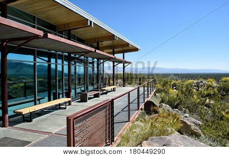 PALM SPRINGS, CALIFORNIA - MARCH 24, 2017: Tahquitz Canyon Visitor Center patio looking towards Palm Springs. The canyon is a beautiful and culturally sensitive areas of the Agua Caliente Reservation.