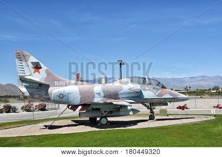 PALM SPRINGS, CALIFORNIA - MARCH 24, 2017: A-4 Skyhawk at the Palm Springs Air Museum, Palm Springs. The plane on display was the last active A-4 assigned to the Navy.