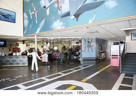 PALM SPRINGS, CALIFORNIA - MARCH 24, 2017: Palm Springs Air Museum Gift Shop. The Palm Springs Air Museum is home to one of the worlds largest collections of flyable WWII aircraft.
