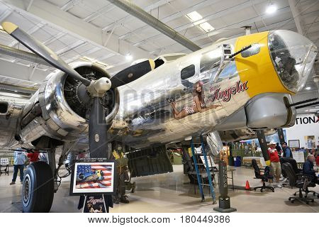 PALM SPRINGS, CALIFORNIA - MARCH 24, 2017: B-17 Flying Fortress Miss Angela. B-17s operated in all theaters of World War II. They were used by the US. Army Air Corps, Air Force, Navy and the R.A.F