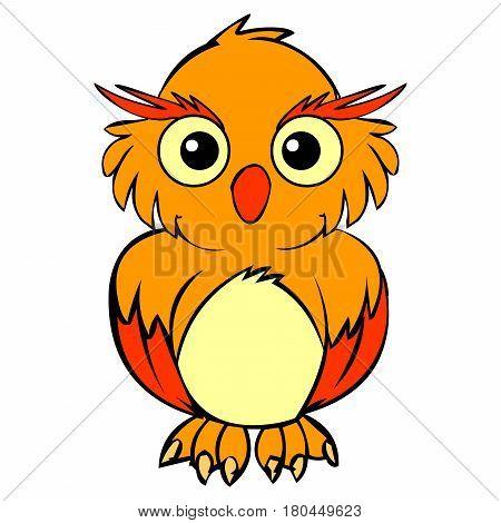 big old yellow owl sitting with big eyes