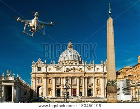 ROME - OCTOBER 5, 2012: Drone with digital camera over square and basilica of Saint Peter (San Pietro). Vatican, Rome, Italy.