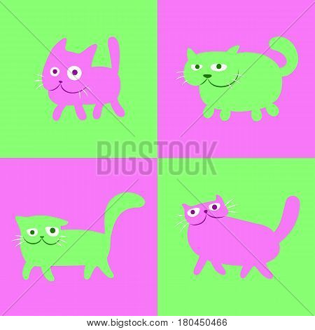 Walking chess cats set in green and pink colors. Funny cartoon cool characters. Cheerful pet catlike web icons and shirts. Pictures for kids. Isolated vector illustration.