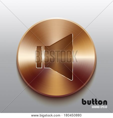 Round sound speaker button with brushed bronze texture isolated on gray background