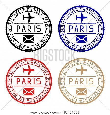 Paris mail stamps. Colored set of round impress. Vector illustration isolated on white background