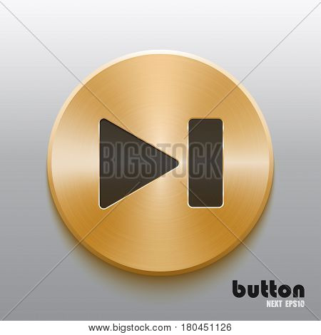Rewind next round button with black symbol and brushed golden metal texture isolated on gray background