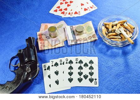 straight flush win poker game and gun for threaten rival