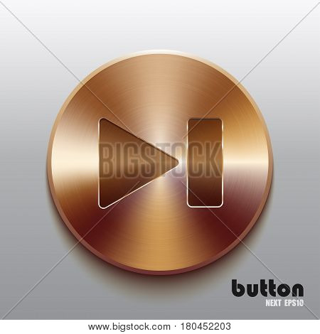 Rewind next round button with brushed bronze texture isolated on gray background