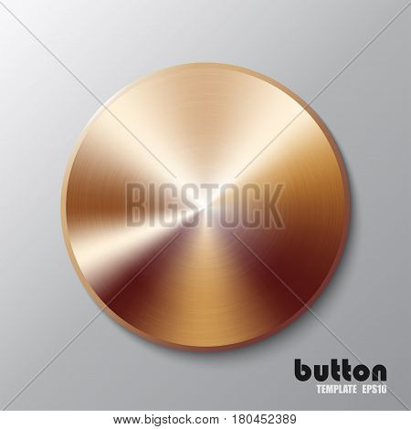 Template of round metal disk or button with bronze texture isolated on gray scale background
