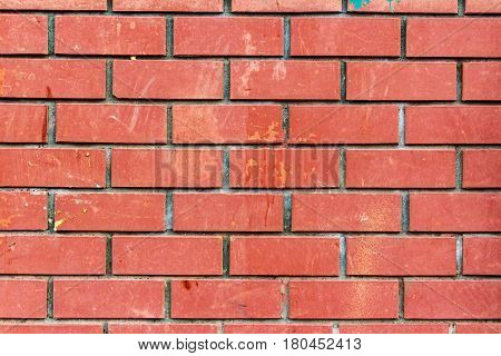 Wall of red brick with dirty spots. Abstract background