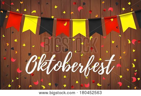 Oktoberfest Garlands With German Flag Color Pattern And Lettering Oktoberfest With Ribbon On A Woode