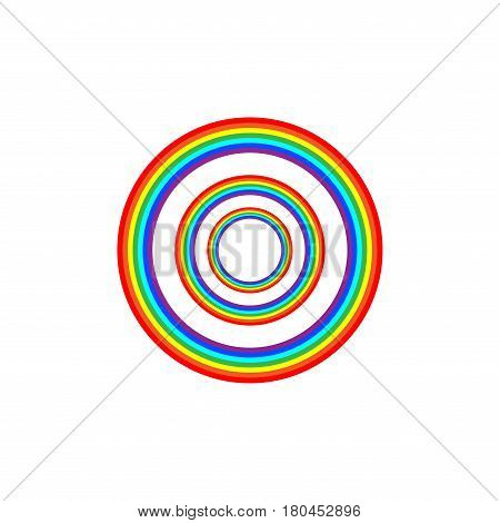 Rainbow circle on sky sign. Illustration colorful spectrum arc. Cute symbol spring summer rain. Color bow mark clean nature. Template for t shirt card poster. Design element. Vector illustration