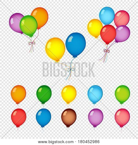 Colorful helium balloons. Bunches and groups of colorful helium balloons isolated on transparent background