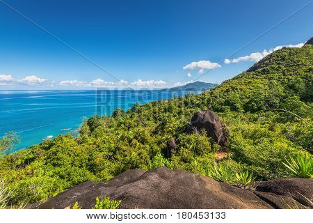 View from Anse Major Nature Trail over the northwest coastline of Mahe island Seychelles.