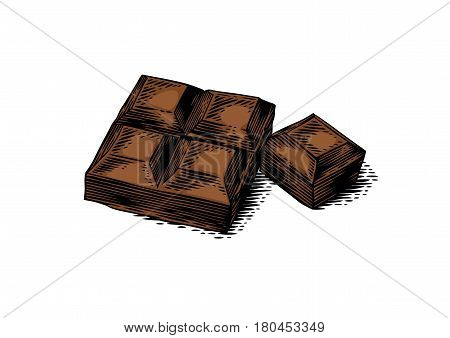 Drawing of isolated brown pieces of chocolate bar