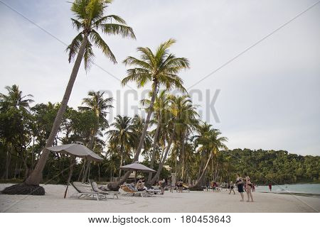 Phu Quoc, Vietnam - Mar 19, 2017: View of Bai Sao sandy beach in tropical Phu Quoc island, far south of Vietnam. Bai Sao is known as one of the most beautiful beach in the world.