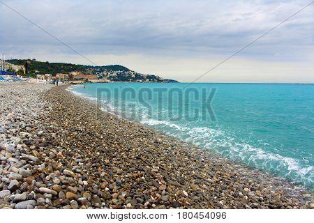 Overcast day on a beach in Nice, France