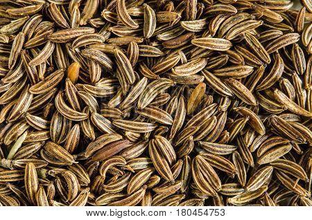 Dry seeds of caraway. Food background. Closeup macro shot. Top view.