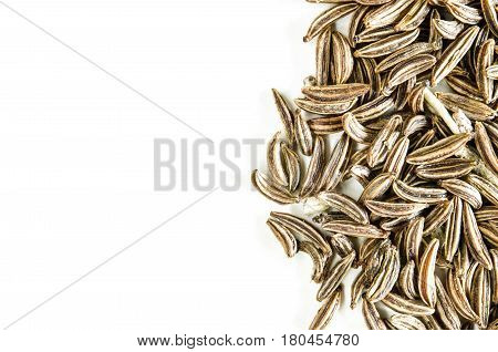 Dry caraway seeds isolated on white. Food background with copy space. Closeup macro shot. Top view.