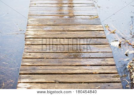 Wooden board walk on bog land in spring