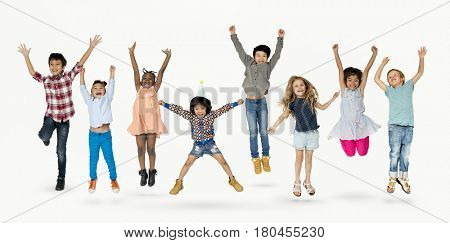 Diverse Group Of Kids Jumping and Having Fun