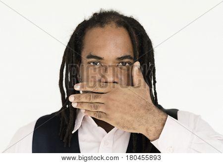 African descent dreadlocks man in a shoot
