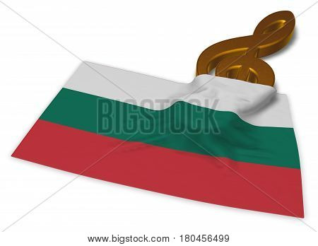 clef symbol and bulgarian flag - 3d rendering