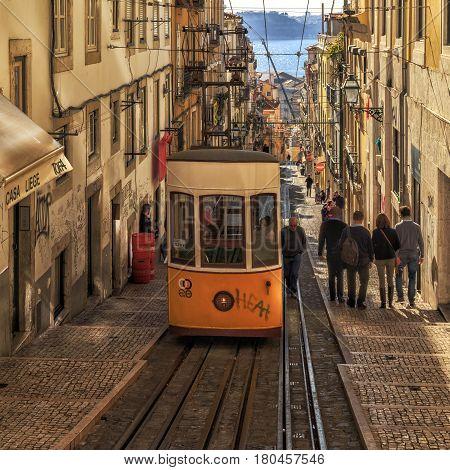 Lisbon, Portugal - 11 January, 2017: Bica Funicular.