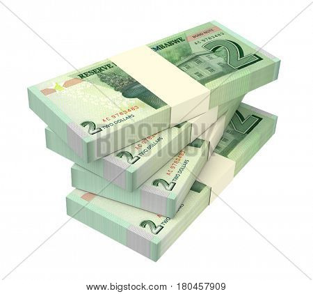 Zimbabwean dollar bills isolated on white background. 3D illustration.