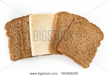 Whole Grain Sandwich Bread Slices With One White Slice, On White Background.