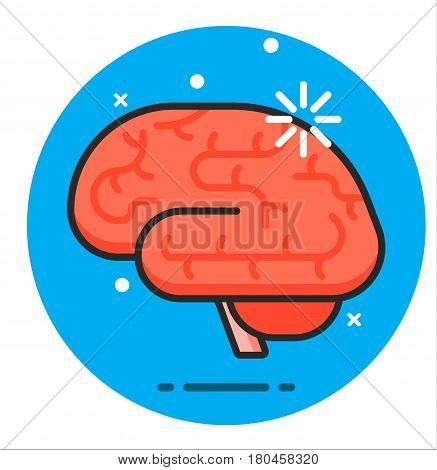 Intellectual brain and mind, nerve icon illustration graphic