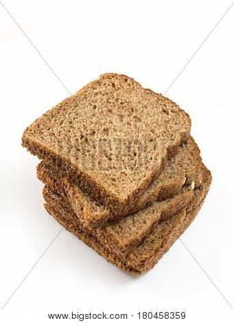 Whole Grain Sandwich Bread Slices, On White Background.