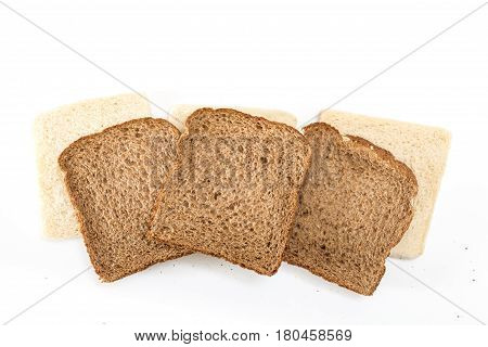 Sandwich Bread Slices In A Row, On White Background.