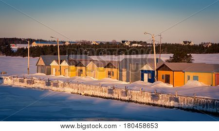 fishing harbour in winter at Prince Edward Island