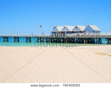 Busselton Western Australia - January 13: Busselton Jetty on a sunny day with tourists in front of interpretive centre in Busselton on January 13 2016
