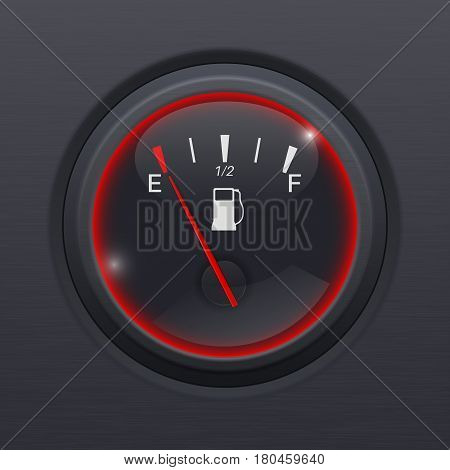 Fuel gauge. Black car dashboard equipment on black matted background. Vector illustration